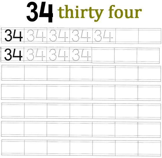worksheet on number 34
