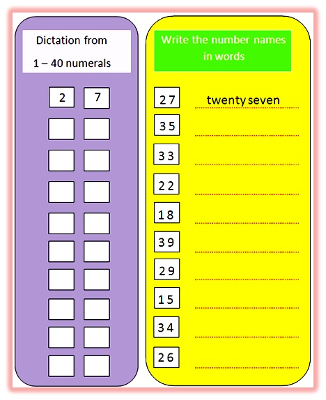Worksheet on number names from 1 to 40,worksheet on number names