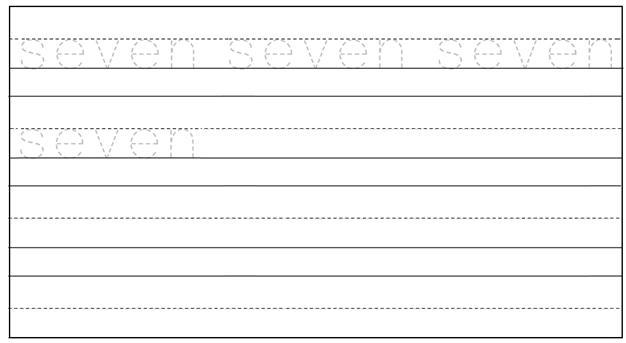 Worksheet on Number Seven
