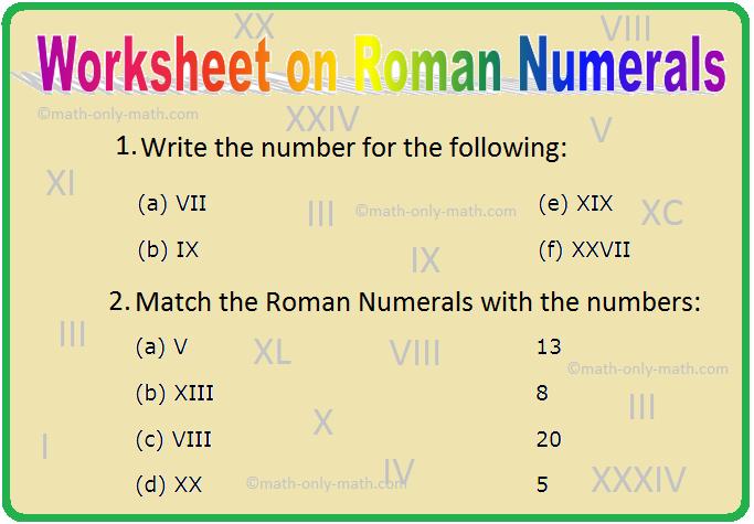 Worksheet on Roman Numerals